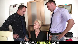 Hot blonde granny gets used in the office