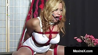 Bound Busty Japanese Maxine X Made To Cum In A Ratchet Gag!
