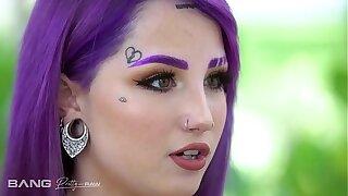 Pretty And Raw - Hot Inked Purple Hair Teen Banged In Three way