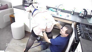 The plumber gets this matures thick tits out