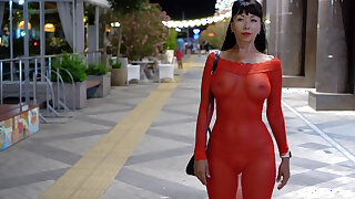 Red translucent dress in public