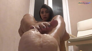 Rubber Cock Footjob with Oiled Feet