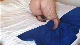 Pink thong and black fishnet pantyhose - BBW big ass
