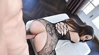 Thick Brunette Gets Rough Pounding While Wearing Stocking