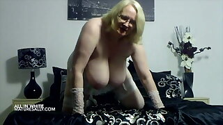 Brit Mature wifey in white underwear is displaying fat tits