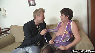 Aged hairy granny sucks and rides his big cock