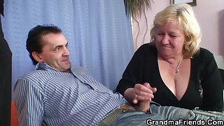 Huge boobs, old grandmother in pantyhose takes DP
