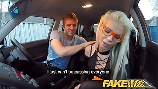 Fake Driving School Blonde hottie Barbie Sins Taken for a Fuck Rail in black underwear