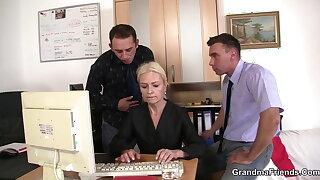 Platinum-blonde old girl swallows 2 dicks for job