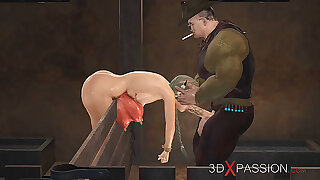 Farmer bangs sexy young woman hard with cow horns in cowshed