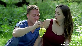 Busty Buffy dicked outdoors in the public park - european teen big natural tits