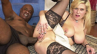 pierced cougar ass fucked by a black monster cock