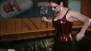 Human Ashtray of German Leather Mistress