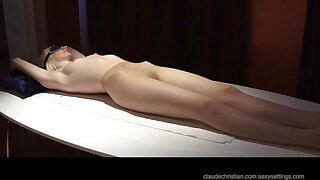 Alice Dumb at strangers place, blindfolded roped orgasm