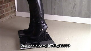 kicking a laptop computer under my punch boots