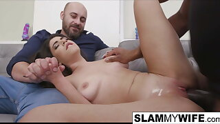 Hot brunette slut gets creampied by a BBC