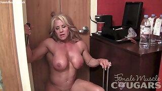 naked, masturbating her yam-sized 2-inch clit