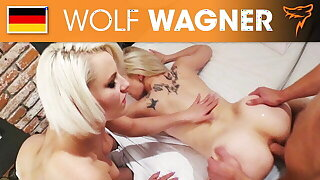 threesome with Lucy and Lena turns into anal! Wolfwagner.com
