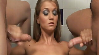 The babe mummy milks off 2 dicks for a spooge explosion