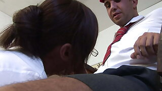 Teacher Mummy sucks ultra-kinky student's rigid cock in class