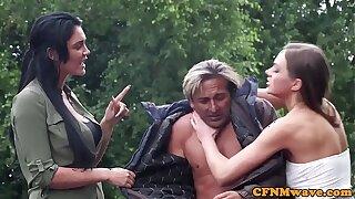 Femdoms masturbating cfnm gimp outdoors in group