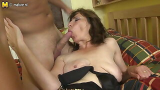 Hairy mommy fucking her son's best buddy