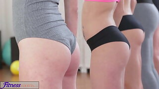 FitnessRooms Lesbian threesome for hot and sweat-soaked gym babes