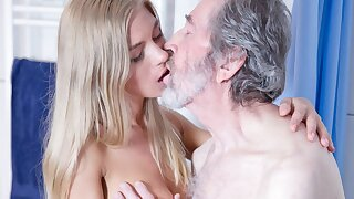 Old Man Fucked Young Light-haired Teenager Blowjob Doggystyle and Cums