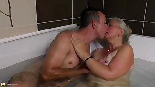 Lovely mature mom gets youthful cock in her hairy cunt
