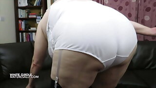 Stripping down to my milky girdle