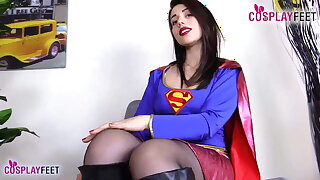 Supergirls in pantyhose take off shoes and show soles
