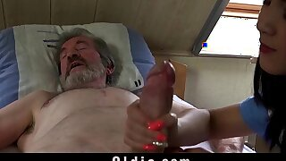 Teen nurse Woman Dee fuck treatment for sick old patient