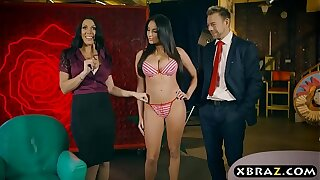Live shopping channel show turns into a threesome fuck