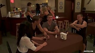 Naughty Sluts get Fucked by Three Guys in a Bar  HD Porno 7e