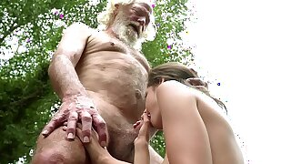 70 yr old granddad nails 18 yr old girl moans with gusto and swallows