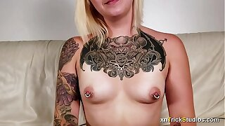 Nervous tattoed girl Ami fucks on first casting - preview