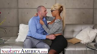 Crazy America Bridgette B. porks married man on couch