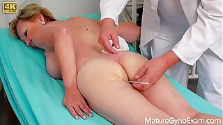 Old pussy exam of hairy blonde grandmother - MatureGynoExam.com