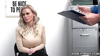 Busty shoplifter MILF Casca Akashova caught stealing necklace by an officer. She was suggested for sex to get her freedom and smashed inside the office.