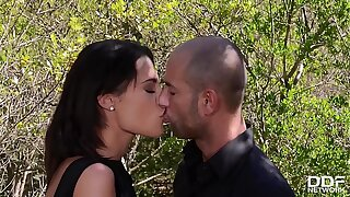 Nature loving Nikita Bellucci rails a fat cock with her ass in the forest