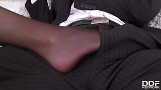 Foot fetish porno with busty British babe Emma Leigh in hip high pantyhose