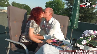 German mature private couple feel in love and fuck outdoors